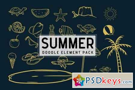 Summer doodle element pack