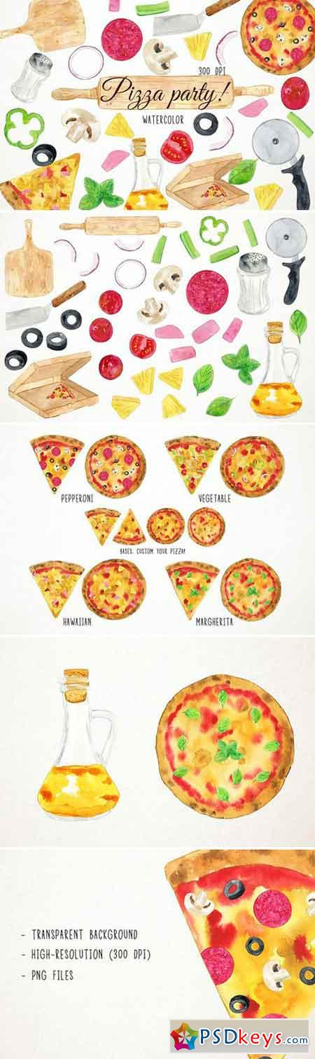 Watercolor Pizza Party Clipart 2486320