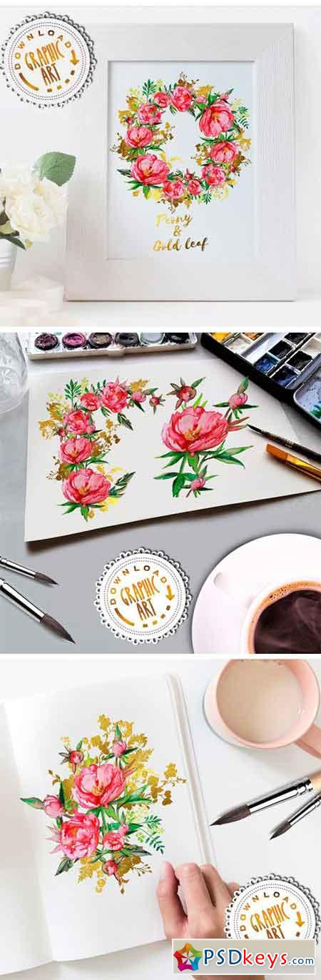 Watercolor Clipart; Peony Wreath 2391865