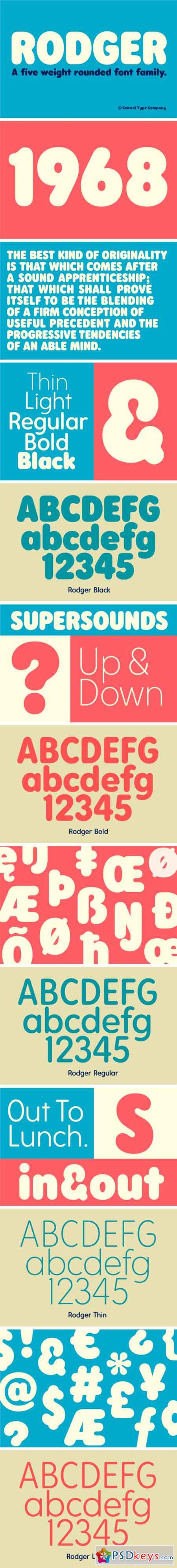 Rodger - A Rounded Font Family 2477590