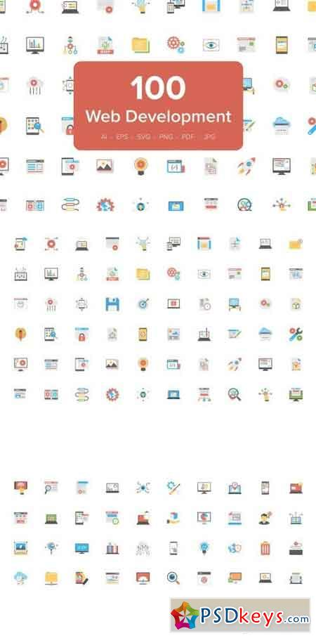 100 Flat Icons of Web Development 2126730