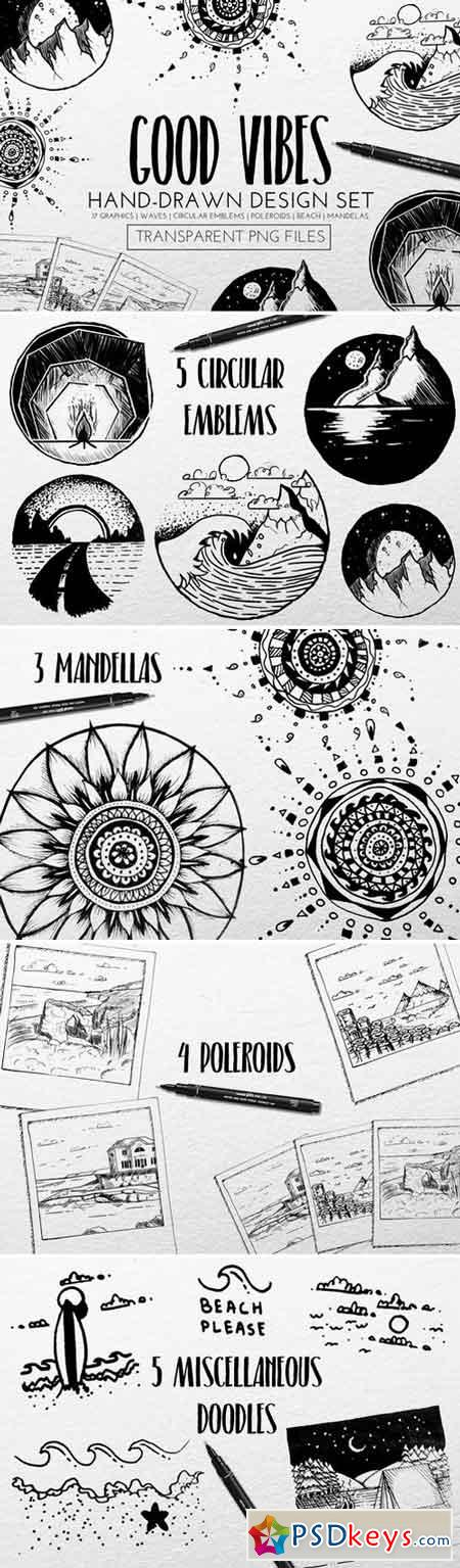 Hand-Drawn Design Set- Good Vibes 2486981