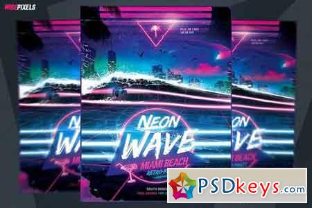 Synthwave Flyer Retrowave Template 2519626
