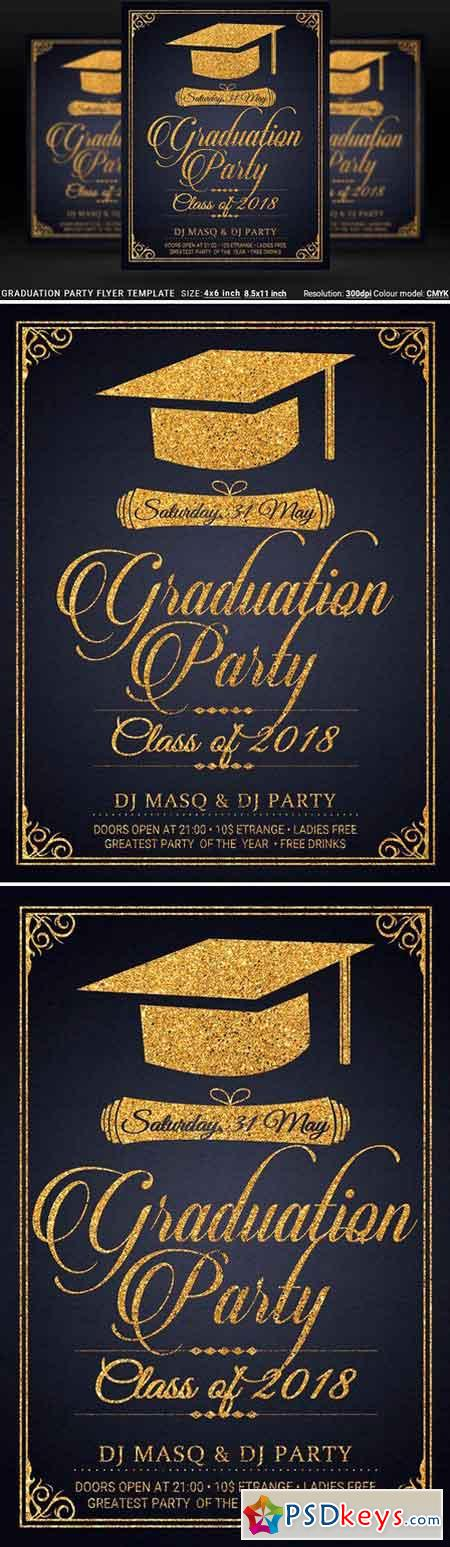 Graduation Party Flyer Template Prom 2518592
