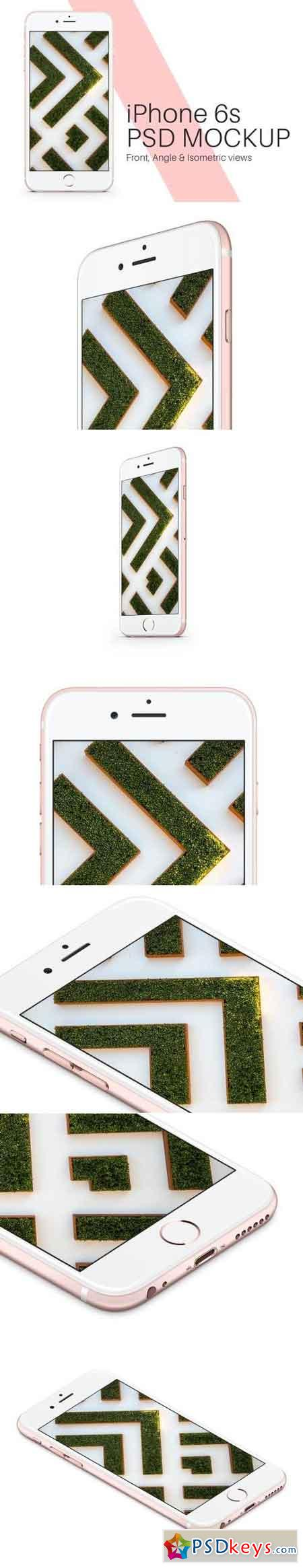 iPhone 6s Rose Gold PSD Mockup