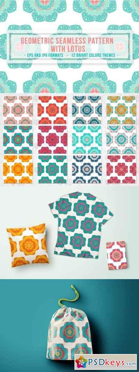 Geometric Seamless Pattern With Lotus