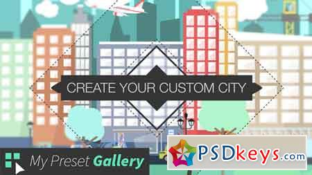 Flat City Vector - City with Buildings, Pedestrians, Cars, Planes... in Flat Design 16075205
