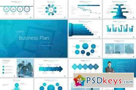 Business Plan PowerPoint Template Blue
