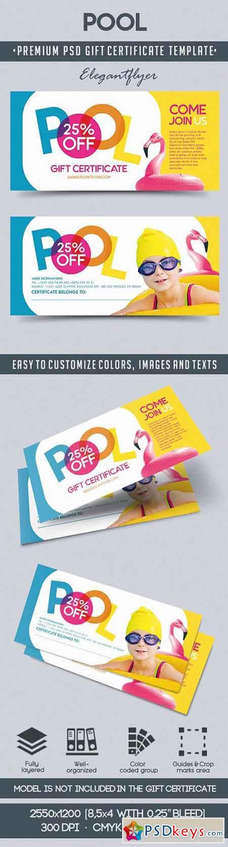 Pool – Premium Gift Certificate PSD Template