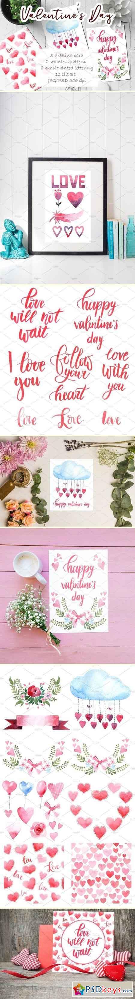 Watercolor set - Valentine's Day 2128418
