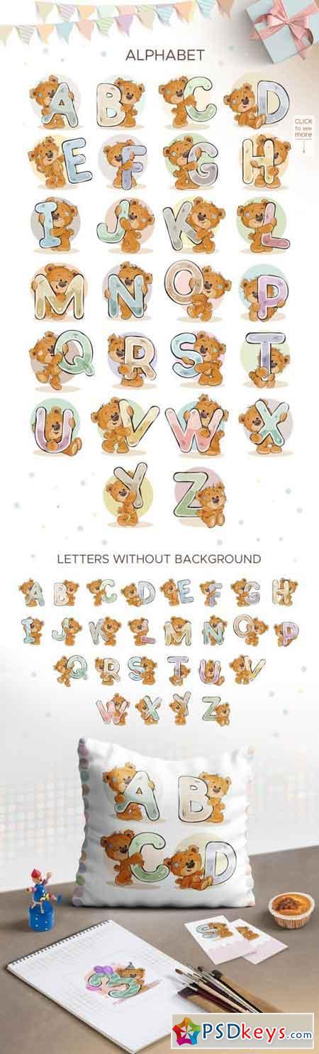 Kid's alphabet with cartoon bear 2100596