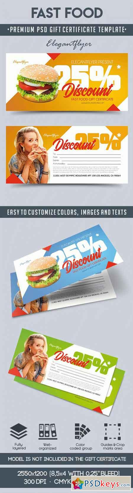 Template for Fast Food Gift Certificate