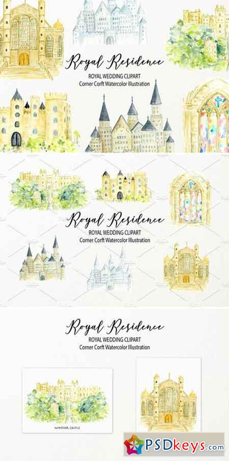 Watercolor royal residence clipart 2520246