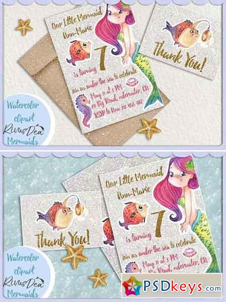 Mermaid party invitation DIY 2579947