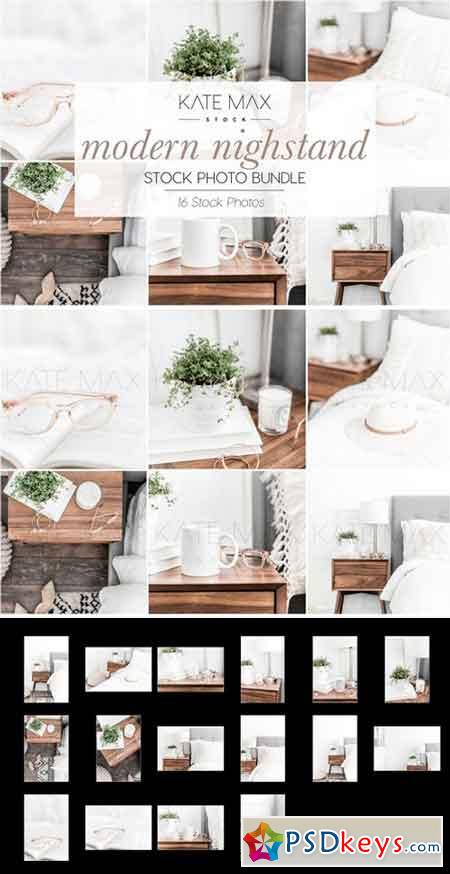 Neutral Nightstand Stock Photo Bundle 2504248