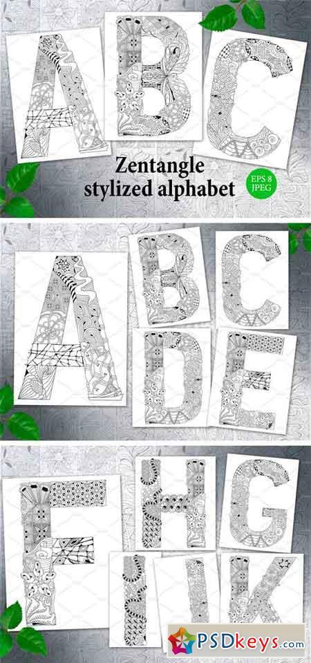 Zentangle Stylized Unusual Alphabet 2395324