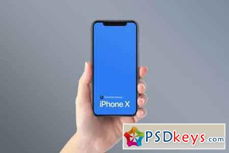 iPhone X on Hand Photoshop Mockup