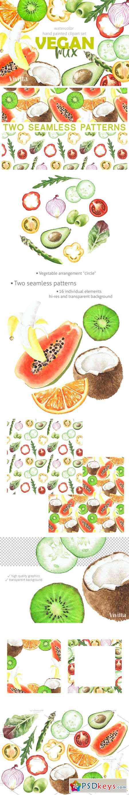 Watercolor clipart Vegan Mix summer 2581697