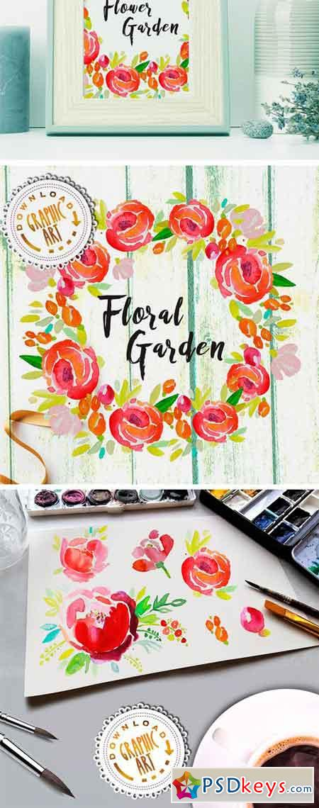 Watercolor Clipart Floral Wreath 2391880