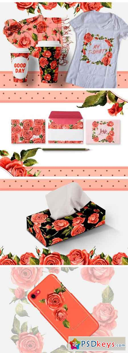 Red Roses PNG Watercolor Flower Set 2392783