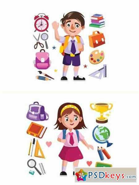 Boy and Girl Student and School Supplies Illustration