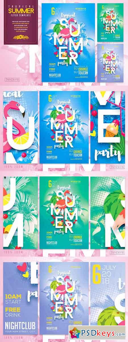 Tropical Summer Party Flyer Template 2608844