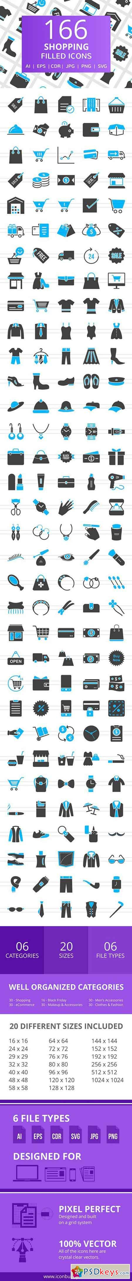 166 Shopping Filled Icons 2517410