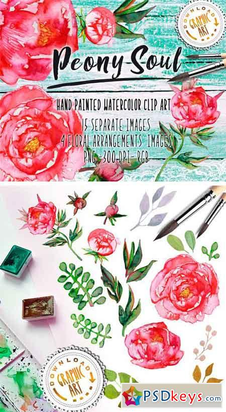 Watercolor Clipart Peony Wreath 2391855