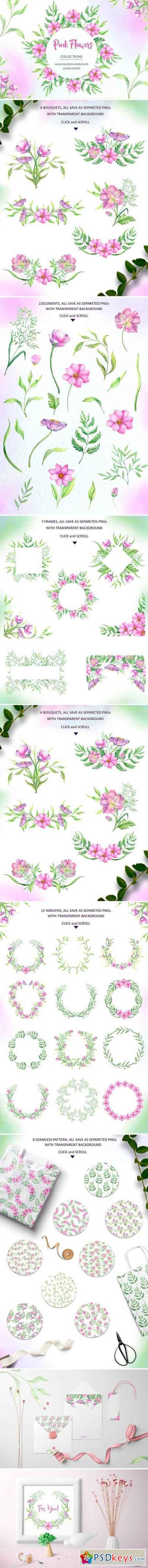 Watercolor Pink Flowers 2517885