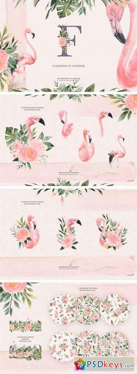 Watercolor Flamingo & Flowers 2511087