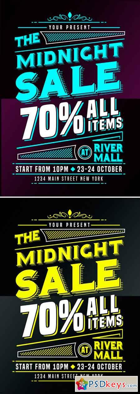 Midnight Sale Flyer Poster 2516419