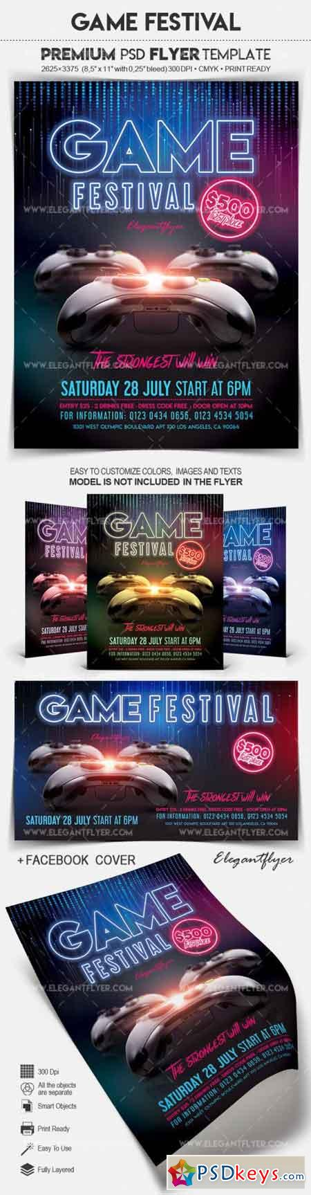 Game Festival – Flyer PSD Template » Free Download Photoshop