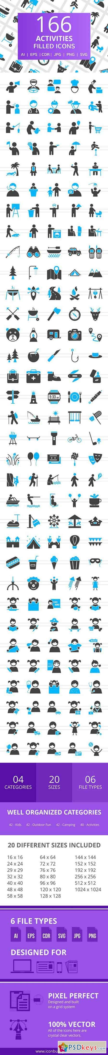 166 Activities Filled Icons 2517286