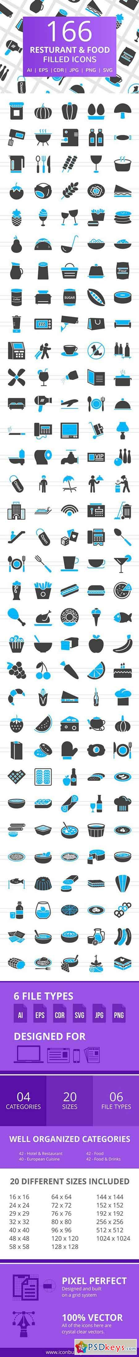 166 Restaurant & Food Filled Icons 2516990
