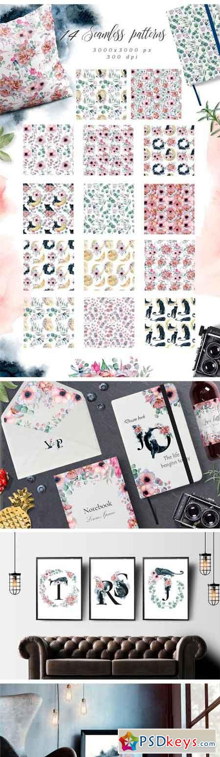Panthers & Floral Watercolor Set 2509961