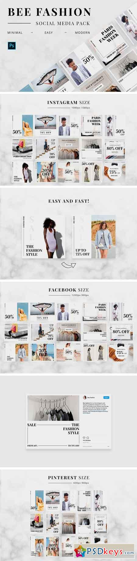 Bee Fashion Social Media Pack 2511622