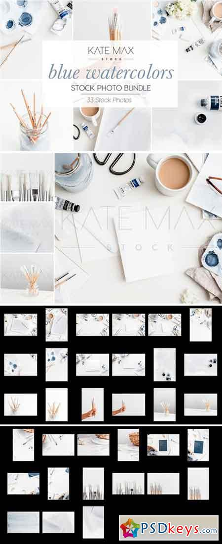 Blue Watercolors Stock Photo Bundle 2323251