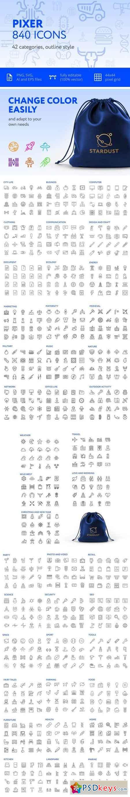 Pixer — 840 outline icons