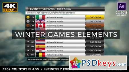 2018 Winter Games Elements - Medal Tracker & Event Results - PyeongChang After Effects Template 21352971