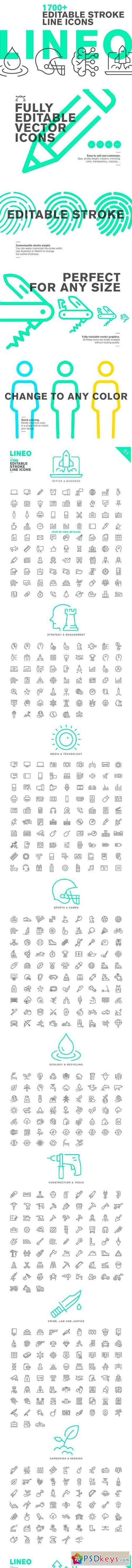 LINEO - 1700+ fully editable icons 2517764 » Free Download