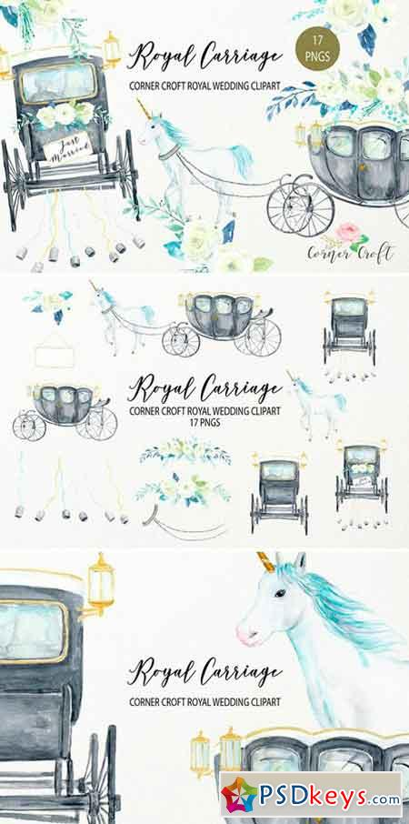Watercolor Royal Carriage Clipart 2516178