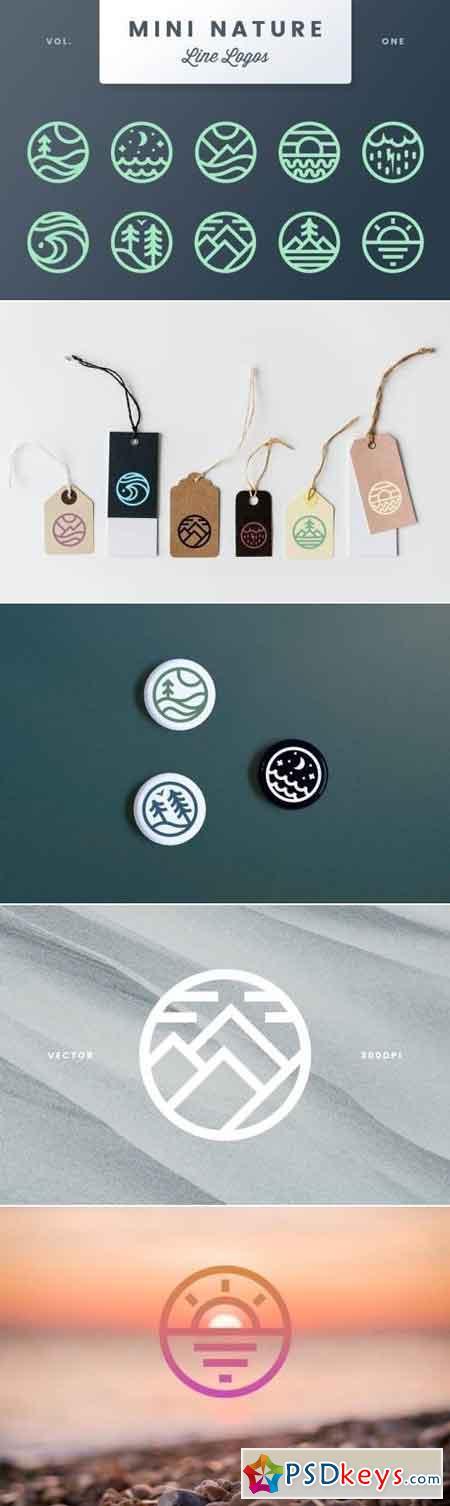 Mini Nature Line Logos - Volume 1