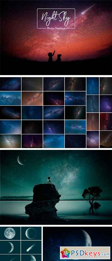 Night Sky and Moon Overlays 2511423