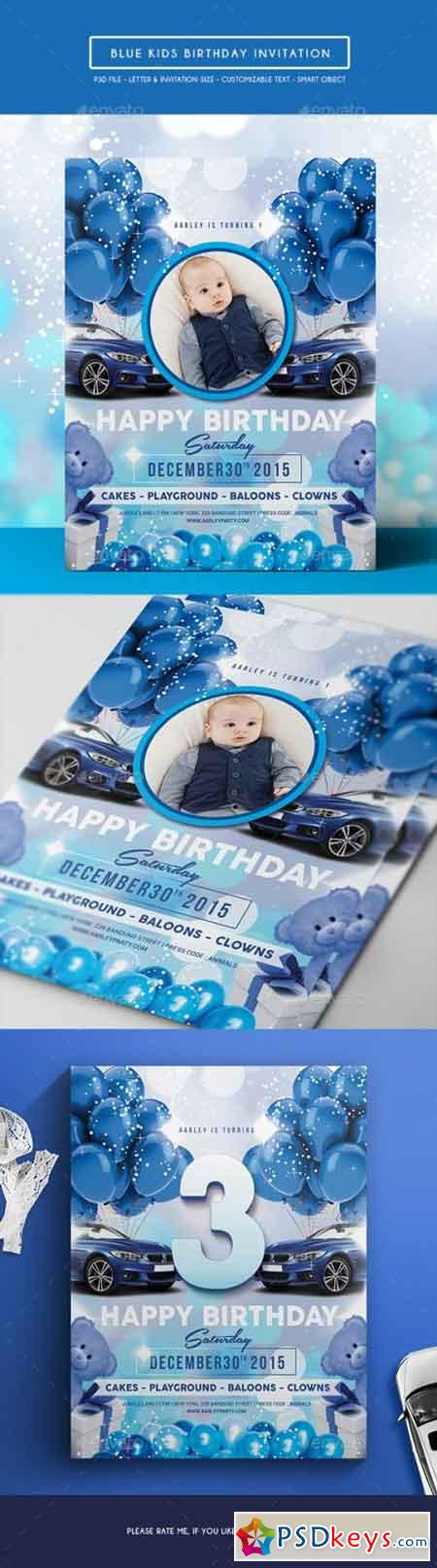 Blue Kids Birthday Invitation 14165162