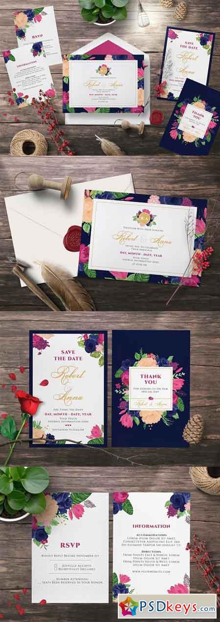FLOWER WEDDING INVITATION SUITES 2555554