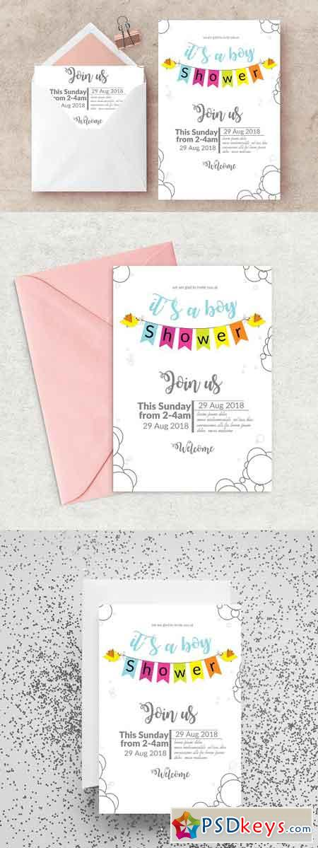 Baby Shower Invitation Card Template 2554839