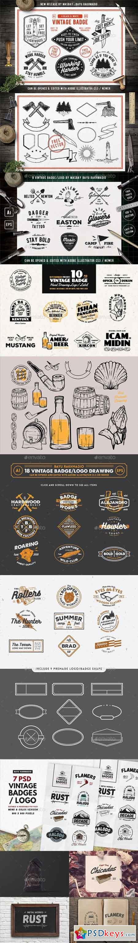 50 Vintage Badges Bundle 20547578