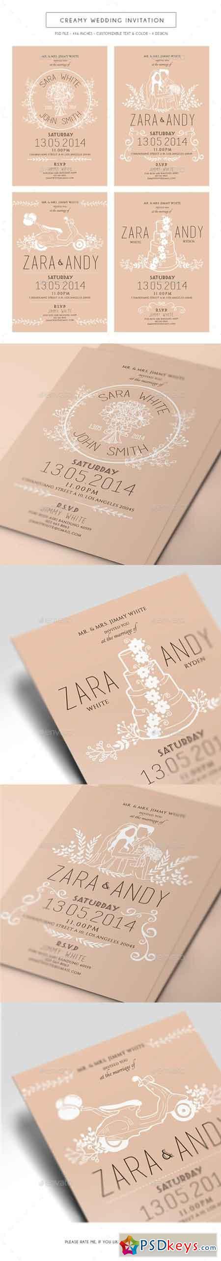 Creamy Wedding Invitation 14581452