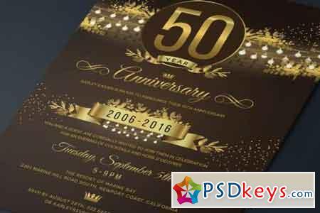 String Lights Anniversary Invitation