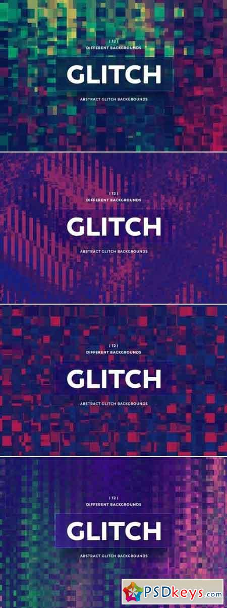 Abstract Glitch Backgrounds Bundle